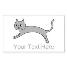 Jumping Gray Cat and Text. Decal
