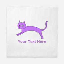 Jumping Purple Cat, Text. Queen Duvet