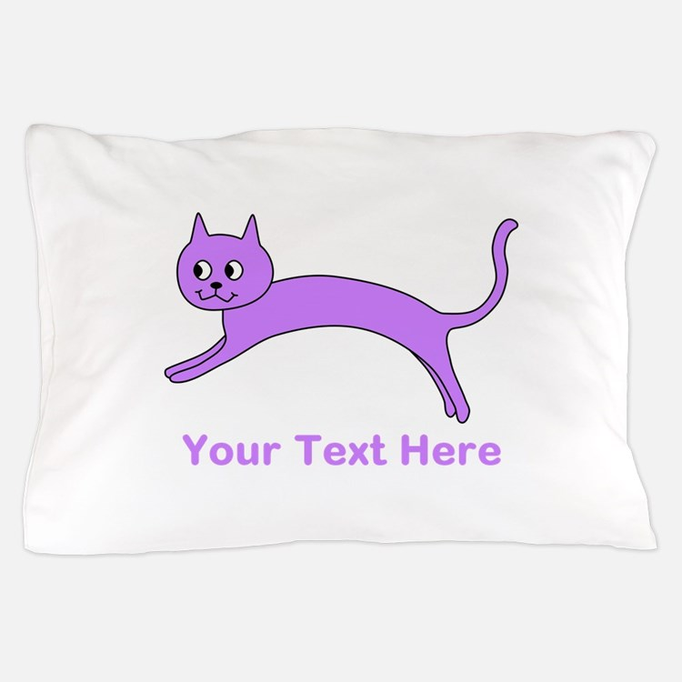 Jumping Purple Cat, Text. Pillow Case