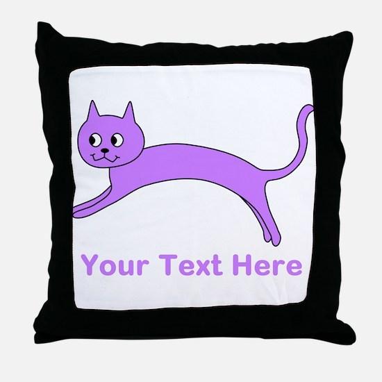 Jumping Purple Cat, Text. Throw Pillow