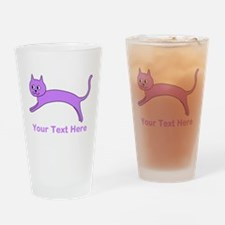 Jumping Purple Cat, Text. Drinking Glass