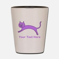 Jumping Purple Cat, Text. Shot Glass