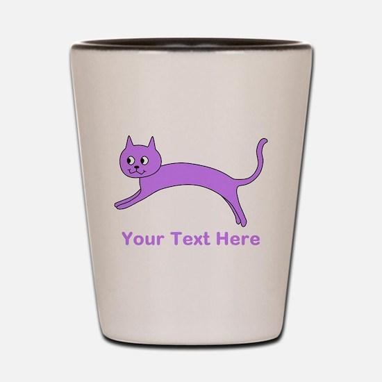 Jumping Purple Cat, Text. Shot Glass