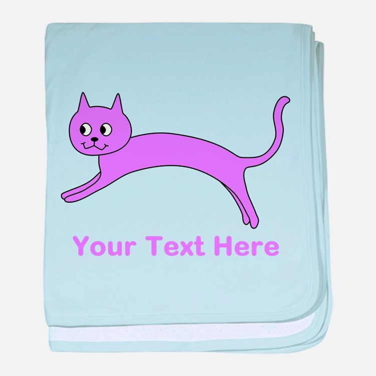 Jumping Purple Cat, Text. baby blanket