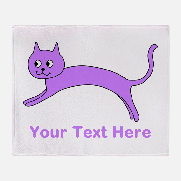 Jumping Purple Cat, Text. Throw Blanket