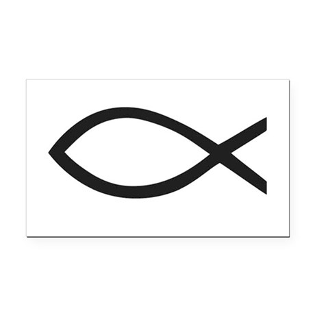 Christian fish symbol rectangle car magnet by stickersrus1 for Fish symbol on cars