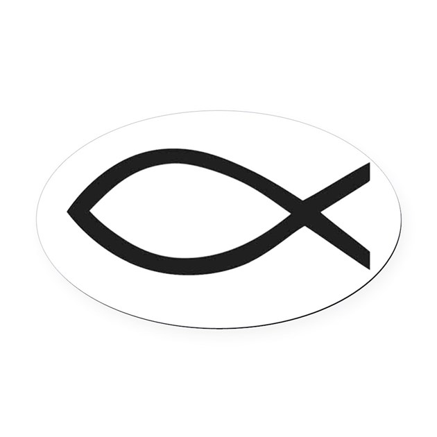 Christian fish symbol oval car magnet by stickersrus1 for Fish symbol on cars