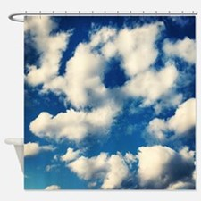 Fluffy Clouds Print Shower Curtain