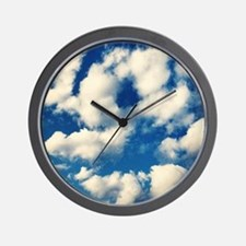 Fluffy Clouds Print Wall Clock