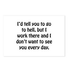 Go To Hell Work Postcards (Package of 8)