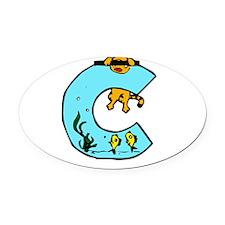 Aquarium Monogram C Oval Car Magnet