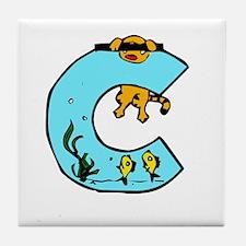 Aquarium Monogram C Tile Coaster
