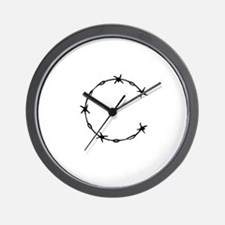 Barbed Wire Monogram C Wall Clock