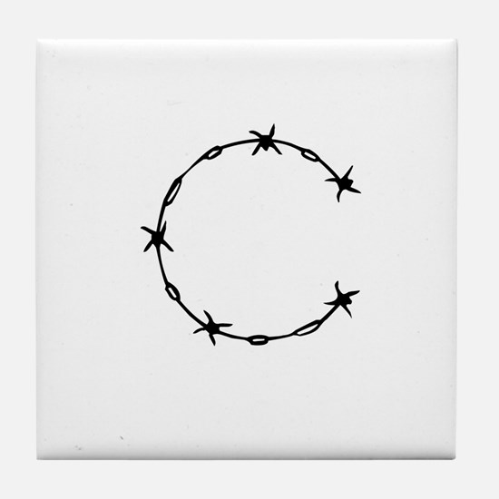 Barbed Wire Monogram C Tile Coaster