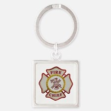 Fire Chief Maltese Square Keychain