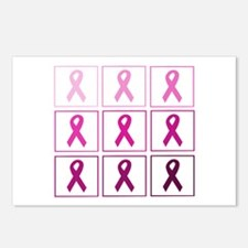pink ribbon quad Postcards (Package of 8)