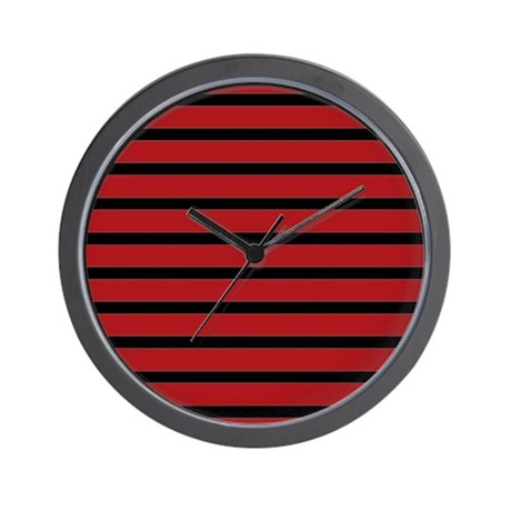 Black and red skinny stripes wall clock by stripstrapstripes for Red and black wall clock