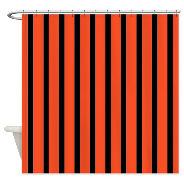 Orange And Black Stripes Shower Curtain By Stripstrapstripes