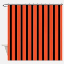 Orange and black Stripes Shower Curtain