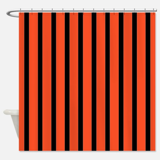 orange and black shower curtain. Orange and black Stripes Shower Curtain And Black Curtains  CafePress