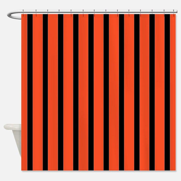 Orange and black Stripes Shower CurtainOrange Black Stripe Shower Curtains   Orange Black Stripe Fabric  . Orange And Black Shower Curtain. Home Design Ideas
