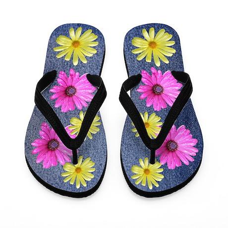 Blue Jeans and Flowers Hippie Flip Flops