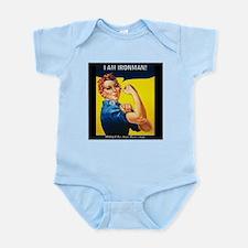 Rosie Ironman Black Background Infant Bodysuit