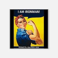 """Rosie Ironman Black Background Square Sticker 3"""" x"""