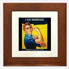 Rosie Ironman Black Background Framed Tile