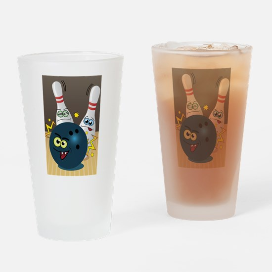 Hilarious Bowling Ball and Pins Drinking Glass