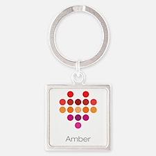 I Heart Amber Square Keychain