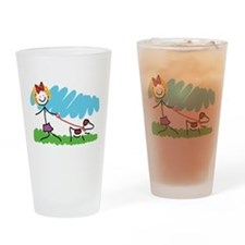 Little Girl and Dog Drawing Drinking Glass
