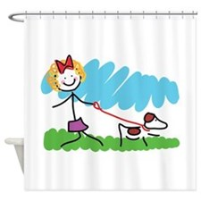 Little Girl and Dog Drawing Shower Curtain