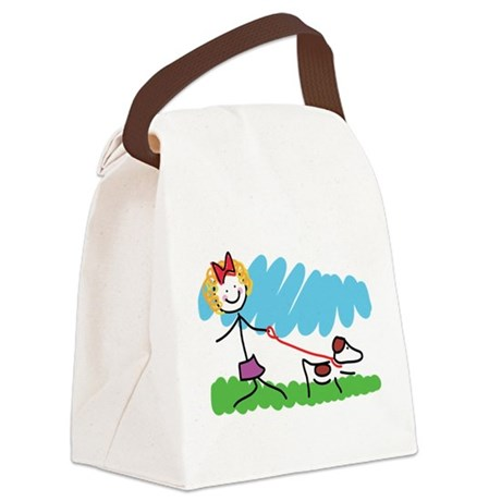 Little Girl and Dog Drawing Canvas Lunch Bag