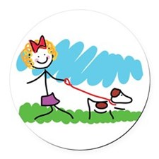 Little Girl and Dog Drawing Round Car Magnet