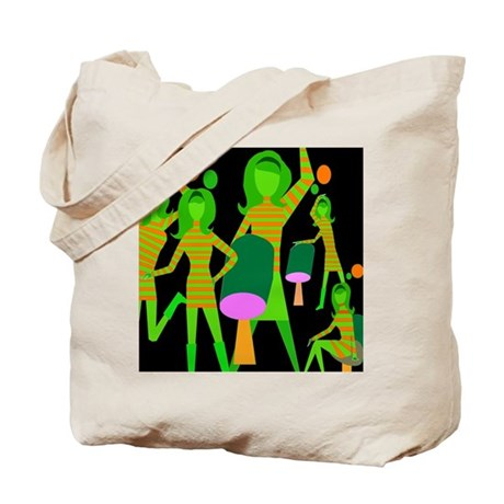 Dancing Girl Groovy / green lime black Tote Bag