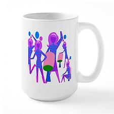 Dancing Girl Groovy / violets blue white Mug