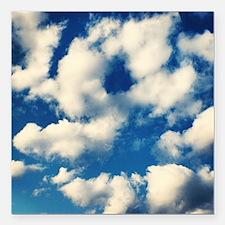 "Fluffy Clouds Print Square Car Magnet 3"" x 3"""