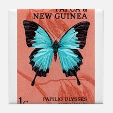 1966 New Guinea Blue Mountain Butterfly Stamp Tile