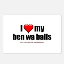 """Love My Ben Wa Balls"" Postcards (Package of 8)"