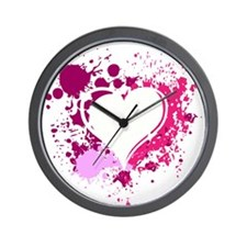 Splattered Heart Wall Clock