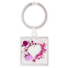 Splattered Heart Square Keychain