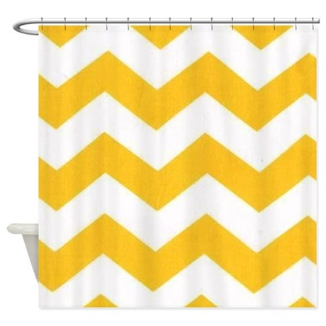 Yellow And White Chevron Shower Curtain By TheChicBoutique85