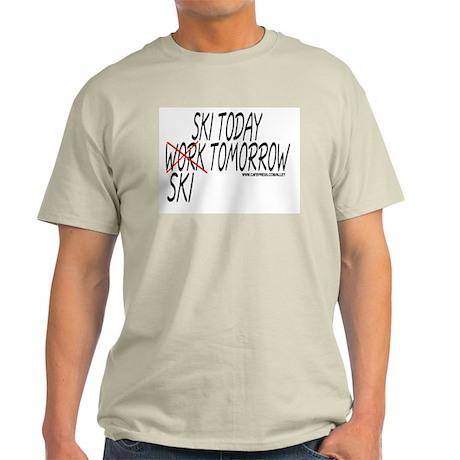 Ski Today Work Tomorrow Ash Grey T-Shirt