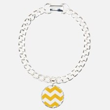 Yellow and White Chevron Bracelet