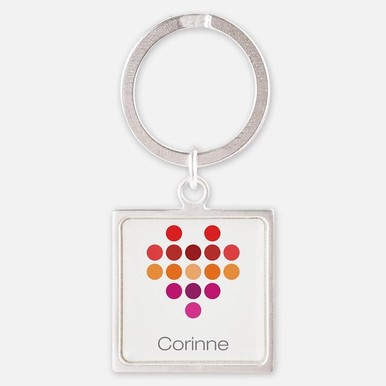 I Heart Corinne Square Keychain