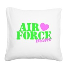 AF Mom Lime Green Pink Heart Square Canvas Pillow