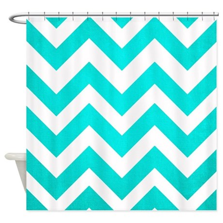 Aqua And White Chevron Shower Curtain By TheChicBoutique85