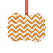 Orange and White Chevron Ornament