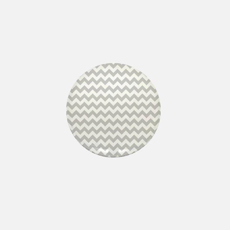 Gray and White Chevron Mini Button